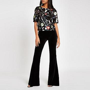 River Island Womens Floral Sequin Embellished T-shirt