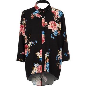 River Island Womens Floral Print High Low Hem Shirt