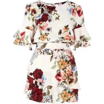 River Island Womens Floral Frill Sleeve Tie Back Playsuit