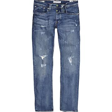 River Island Mens Pepe Jeans Cash Ripped Jeans