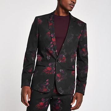 River Island Mens Floral Skinny Suit Jacket