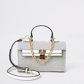 River Island Womens White Diamante Mini Tote Bag