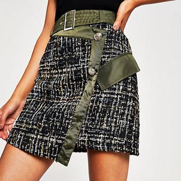 River Island Womens Boucle Wrap Front Belted Mini Skirt