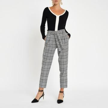 River Island Womens Check Tie Waist Tapered Trousers