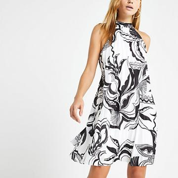 River Island Womens White Print Halter Neck Pleated Swing Dress