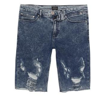 River Island Mens Acid Wash Ripped Skinny Fit Denim Shorts