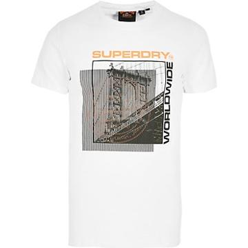 River Island Mens Superdry White Printed Short Sleeve T-shirt