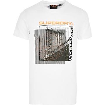 River Island Mens Superdry White Printed Short Sleeve T-shirt