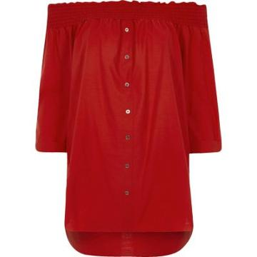 River Island Womens Shirred Bardot Shirt