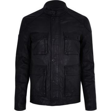 River Island Mens Superdry Leather Pocket Jacket