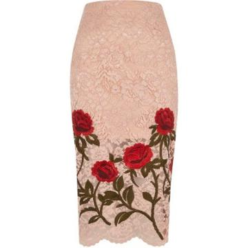 River Island Womens Lace Floral Embroidered Pencil Ski