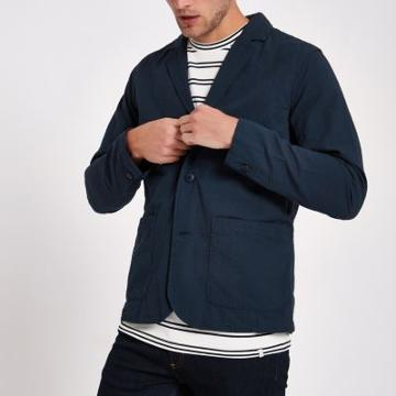 River Island Mens Minimum Textured Blazer