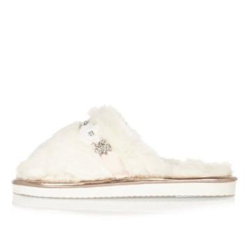 River Island Womens Fluffy Embellished Mule Slippers