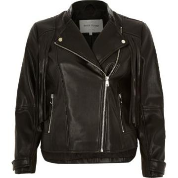 River Island Leather-look Fringed Biker Jacket
