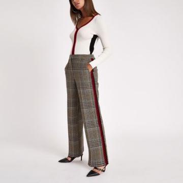 River Island Womens Side Stripe Straight Leg Pants