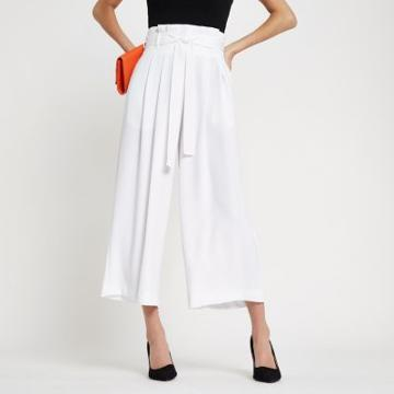 River Island Womens White Paperbag Belted Culottes
