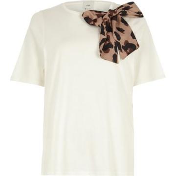 River Island Womens White Leopard Print Bow Detail T-shirt