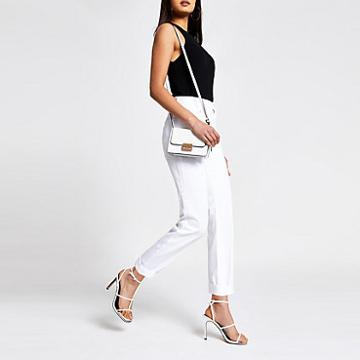 River Island Womens White Mom Stitch Jeans