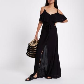 River Island Womens Petite Cold Shoulder Frill Maxi Dress