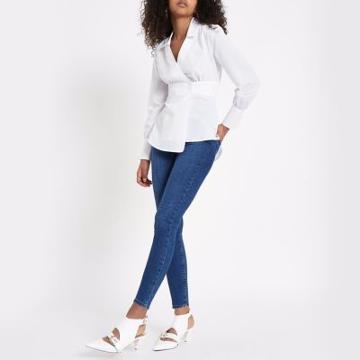 River Island Womens White Popper Wrap Shirt