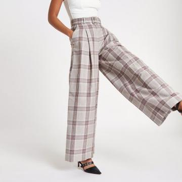 River Island Womens Check Wide Leg Belted Pants