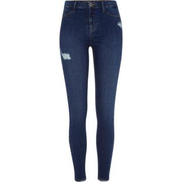 River Island Womens Molly Ripped Skinny Fit Jeggings