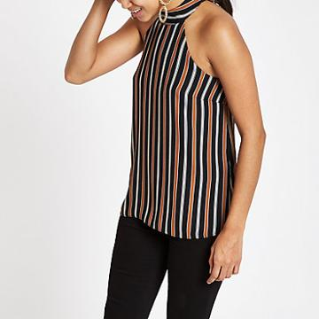 River Island Womens Petite Stripe Tie Halter Neck Top