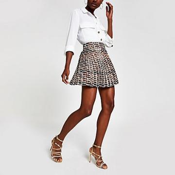 River Island Womens Ri Print Pleated Mini Skirt