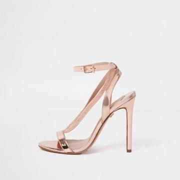 River Island Womens Rose Gold Wide Fit Barely There Sandals