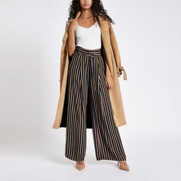 River Island Womens Tan Stripe Wide Leg Belted Trousers