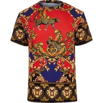 River Island Mens Jaded Baroque Print T-shirt