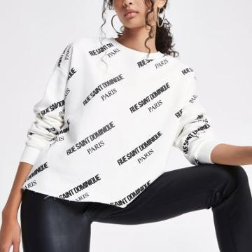 River Island Womens White 'rue Saint Dominique' Print Sweatshirt