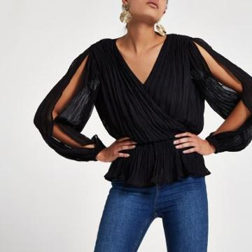River Island Womens Pleated Wrap Top