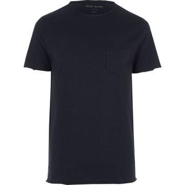 River Island Mens Slim Fit Raw Cut Pocket T-shirt
