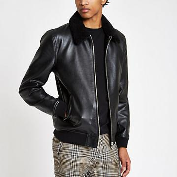 River Island Mens Faux Leather Fleece Collar Jacket