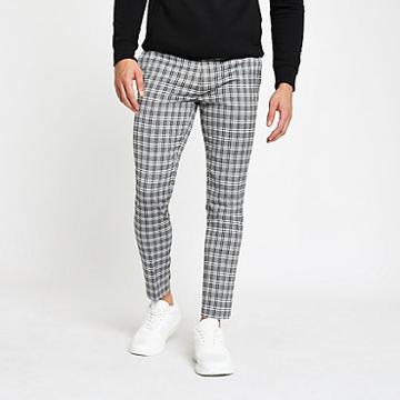 River Island Mens Check Cropped Super Skinny Trousers