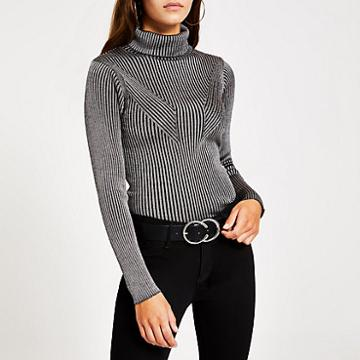 River Island Womens Ribbed Metallic Roll Neck Knitted Jumper