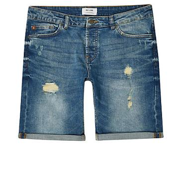 River Island Mens Only And Sons Distressed Denim Shorts