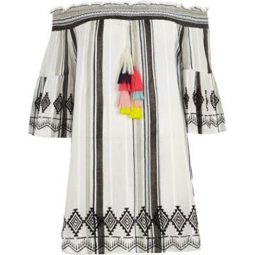 River Island Womens White Stripe Tassel Bardot Beach Dress