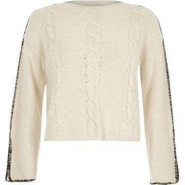 River Island Womens Cable Knit Blanket Stitch Jumper