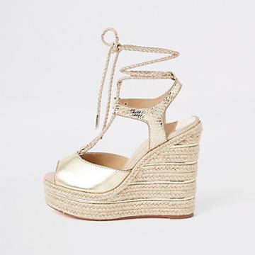 River Island Womens Gold Metallic Rope Tie-up Espadrille Wedges