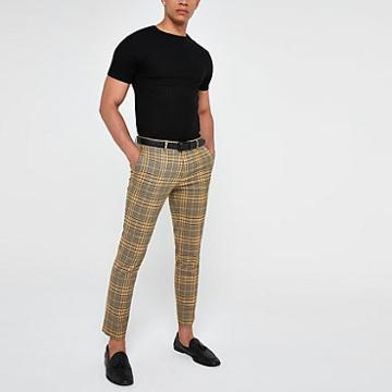 River Island Mens Check Super Skinny Smart Trousers