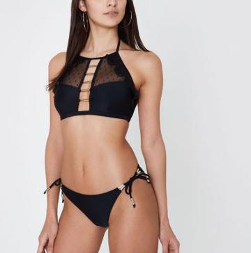 River Island Womens Dobby Mesh Insert High Apex Bikini Top