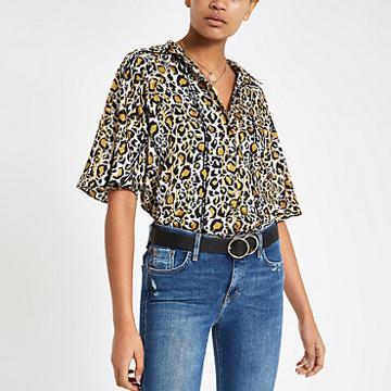 River Island Womens Leopard Print Tie Side Shirt