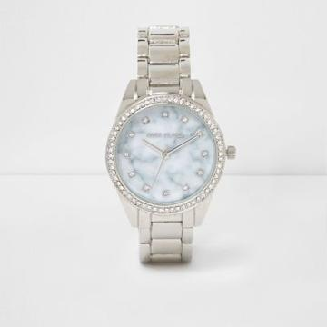 River Island Womens Silver Tone Marble Round Face Watch