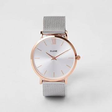 River Island Womens Silver Plated Cluse Mesh Watch