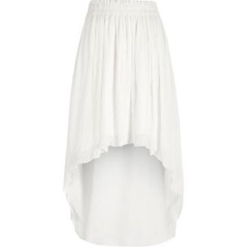 River Island Womens White Pleated High-low Maxi Skirt