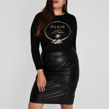 River Island Womens Plus 'paris' Foil Print T-shirt
