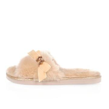 River Island Womens Fluffy Bow Slider Slippers