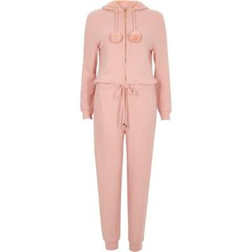 River Island Womens Faux Fur Hooded Lounge Jumpsuit